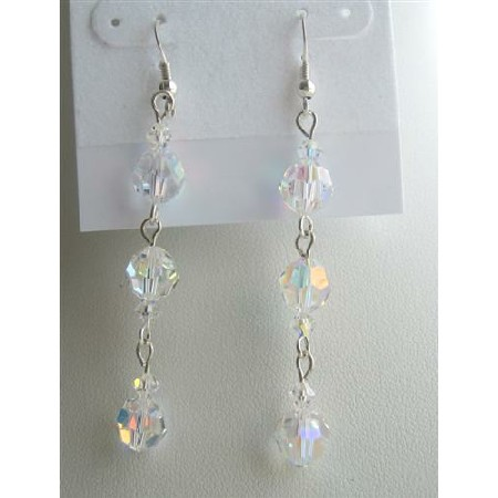 Swarovski Crystals AB Crystals Round Sterling Silver Dangling Earrings