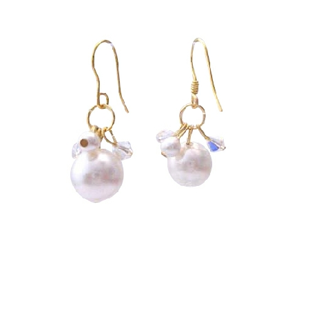 AB Swarovski Crystals & White Pearl Classy 22k Gold Plated Earrings