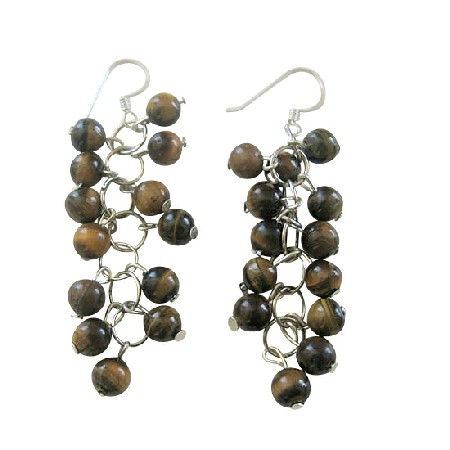 Tiger Eye Beaded Grape Earrings Sterling Silver Handcrafted Jewelry