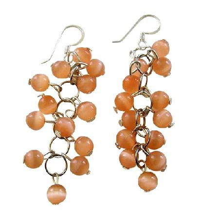 Peach Bunches Beads Cat Eye Sterling Silver Handmade Earrings