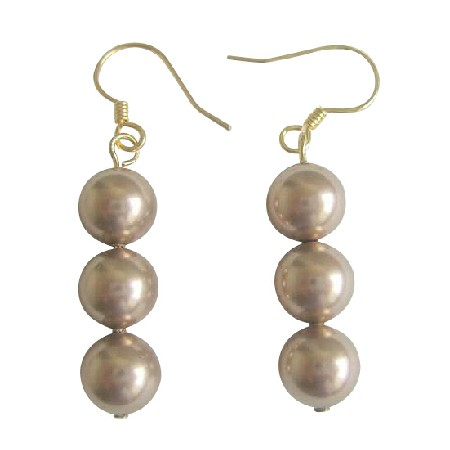 Swarovski Champagne Pearls Earrings 22k Gold Plated Earrings