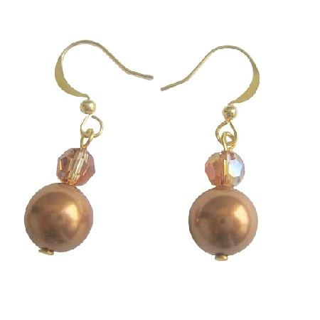 Copper Pearls & Swarovski Copper Crystals 22k Gold Plated Earrings