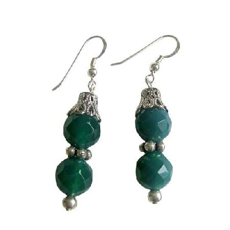 Jade Faceted Round Bead Earrings Bali Silver Sterling Silver Earrings