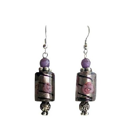 Ethnic Millefiori Bead Purple Cat Eye Cylindrical Millefiori Earrings