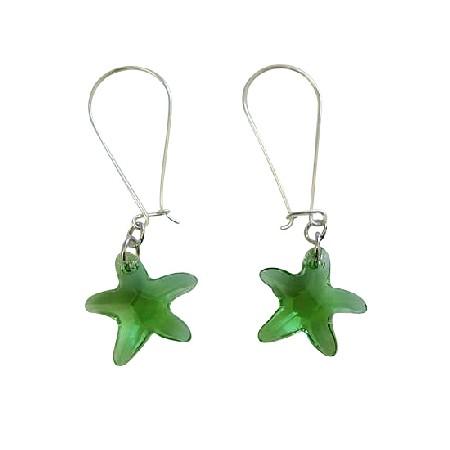 Swarovski Peridot Star Fish Crystals 92.5 Sterling Silver Hoop Earring