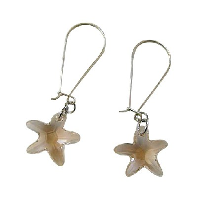 Sterling Silver Golden Shadow Star Fish Crystals Hoop Earrings