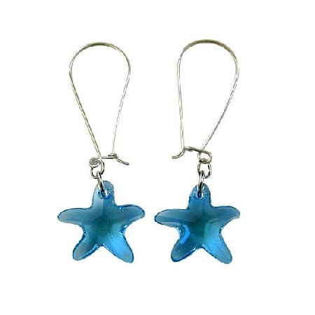 Crystal Fish Jewelry Aquamarine Star Fish Crystal Silver Hoop Earrings