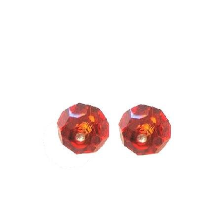 Swarovski Indian Red (Burnt Orange) Crystals Stud Earring