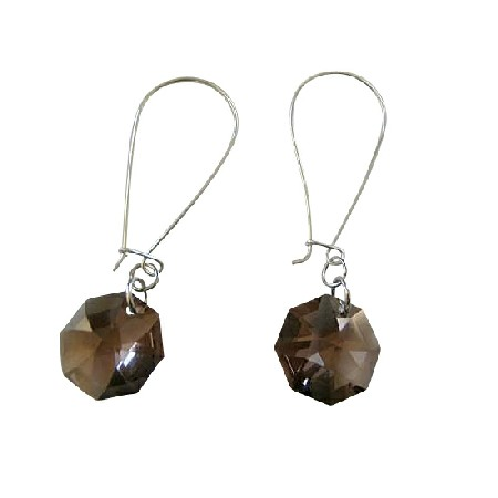 Smoked Topaz Octagon 15mm Multifaceted Crystal Silver Hoop Earrings