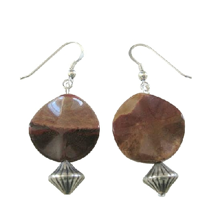 Brown Jasper Flat Stone Bead in 92.5 Sterling Silver Earrings