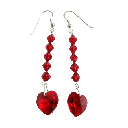 Swarovski Crystal Red Heart & Crystal Bead Silver 92.5 Hook Earrings