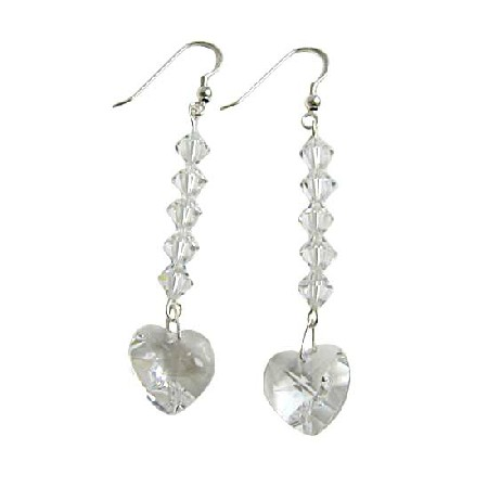 Clear Swarovski Heart Crystal Chandelier Silver 92.5 Hook Earrings