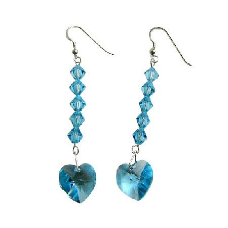 Aquamarine Sparkling Crystal Heart Silver 92.5 Dangling Earrings