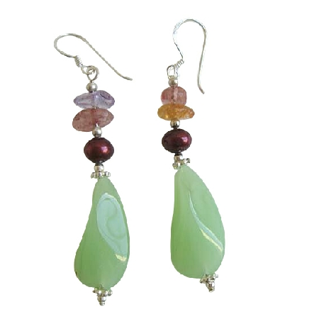 Murano Glass Earrings w/ Multi Nugget & Daisy Spacer Sterling Earrings