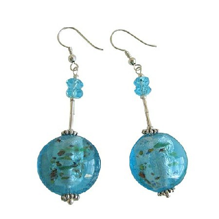 Ethnic Blue Self Designed Millefiori Bead Sterling Silver Earrings