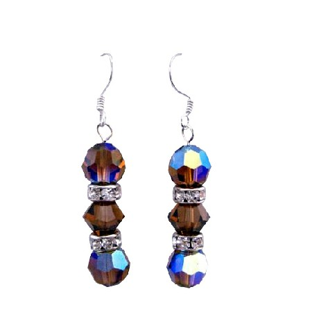 AB Smoked Topaz Swarovski Round Crystals 8mm Silver Rondells Earrings