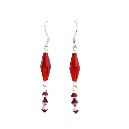 Siam Red Long Bicone w/ Two Shaded Siam Red Crystals Hook Earrings