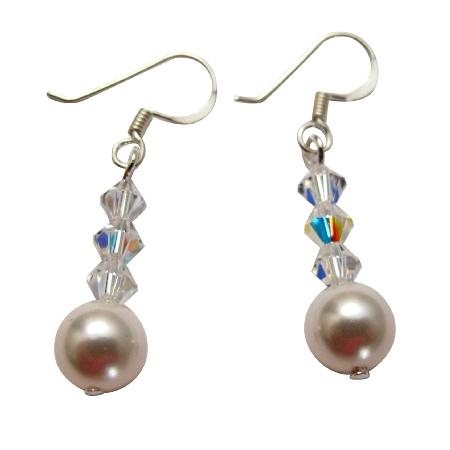 White Swarovski Pearls AB Crystals Cute Silver 92.5 Earrings