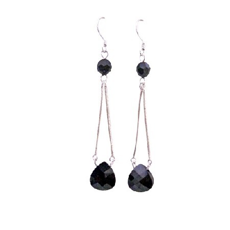 Black Jet Swarovski Polygon Bead 11mm & 6mm Round Crystals Earrings