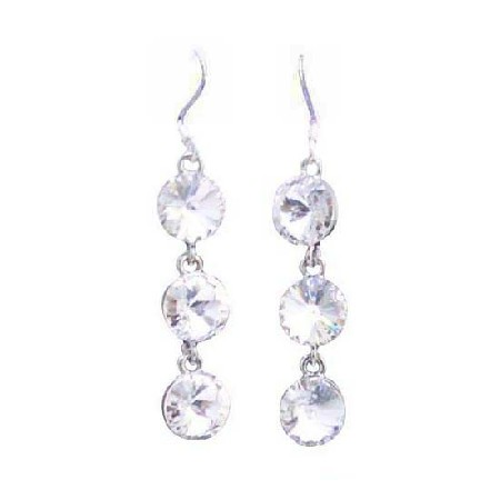 White Clear Crystals Round Crystal 10mm Bead Silver 92.5 Hook Earrings