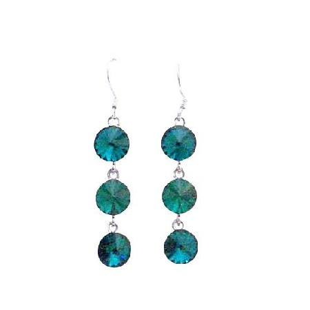 Emerald Green Swarovski Round Crystal 10mm Dangle Hook Silver Earrings
