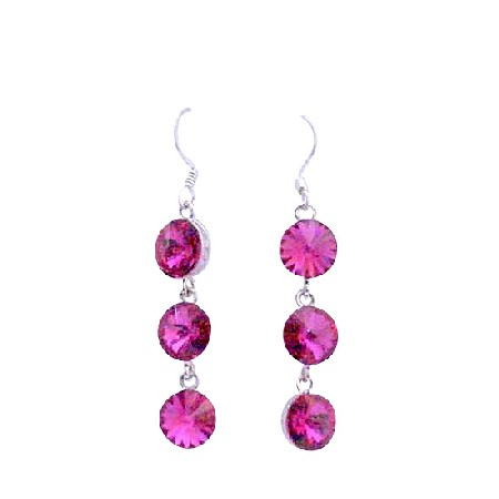 Sexy Fuchsia Round Crystal Bead 10mm Sterling Silver Hook Earrings