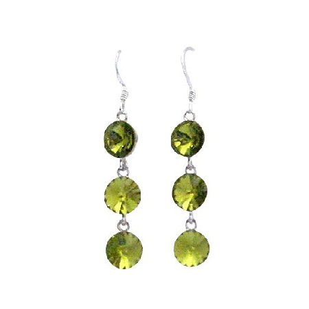 Round Crystal Olivine 10mm Crystal Earrings Silver 92.5 Hook Earrings