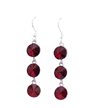 Dark Siam Red Swarovski Crystal Round Beads 10mm Silver Hook Earrings