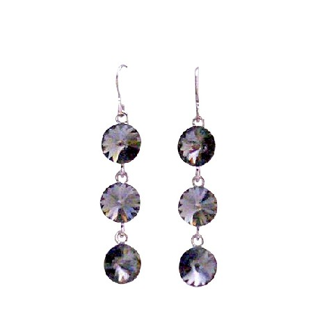Black Diamond Swarovski Crystals Round Beads 10mm Silver Earrings