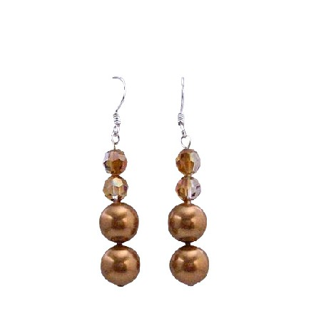 Copper Pearls w/ Swarovski Copper Crystals Pearls & Crystals Earrings