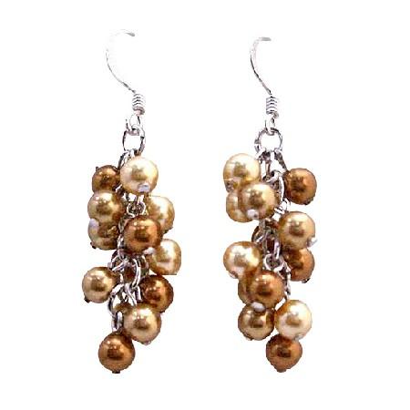 Golden Copper Pearls Grape Style Earrings Swarovski Earrings