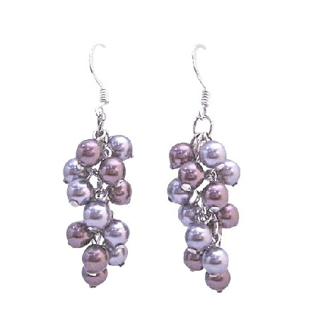 Grape Style Swarovski Gray & Purple Pearls Silver Hook Earring