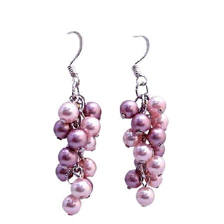 Grape Style Swarovski Lite & Dark Rose Pink Pearls Earrings Jewelry