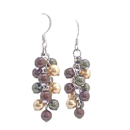 Swarovski Pearls Earrings Grape Style Pearls Sterling Silver Earrings