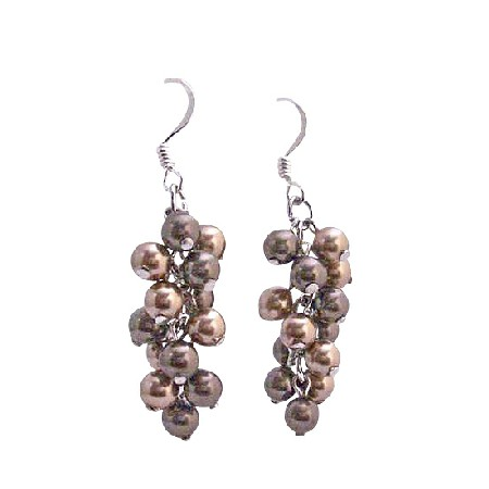 Two Pearls Color Bronze &Brown Pearl Swarovski Pearls Earrings