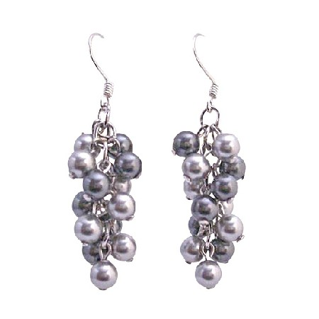 Swarovski Grey Pearls Earrings Lite & Dark Grey Pearls Earrings