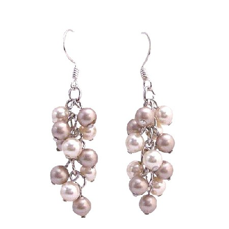 Ivory Pearls Champagne Grape Style Swarovski Pearls Earrings