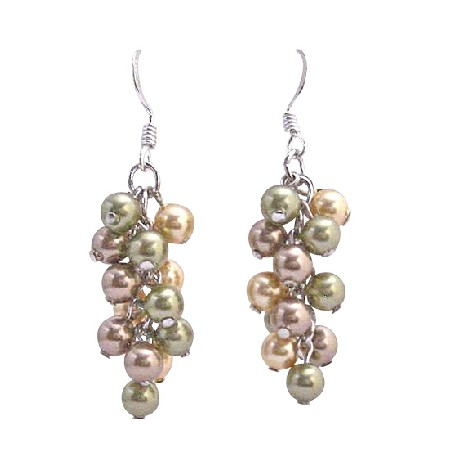 Bunch Pearls Earring Swarovski Pearls Sterling Silver Earrings