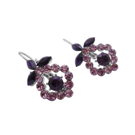 Vintage Sparkling Light & Dark Crystals Amethyst Earrings