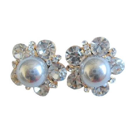 Grey Pearls Stud Earrings Surrounded w/ Cubic Zircon Stud Earrings