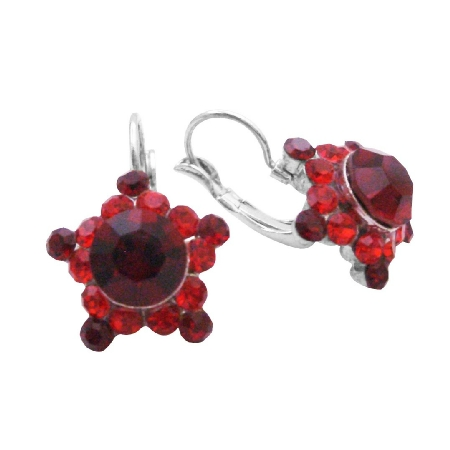 Siam Red Crystals Earrings