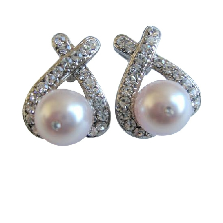 Rose Pink Swarovski Stud Pearl w/ Cubic Zircon Pierced Earrings