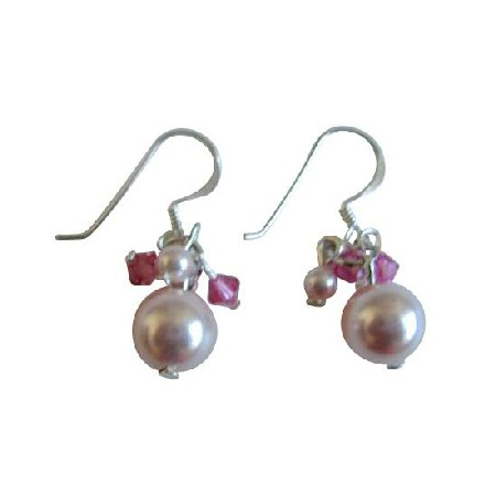 Rose Pink Pearl w/ Fuchsia Crystals Swarovski Wedding Bridal Earrings