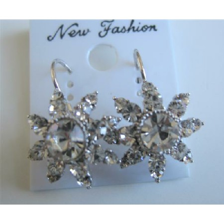 Sparkling Crystals Clear Dress Arround Crystals Earrings