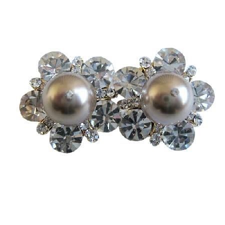Swarovski Bronze 10mm Pearls Gift Stud Earring w/ Cubic Zircon