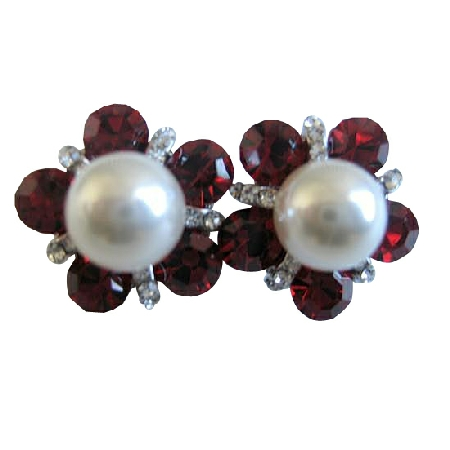 Siam Red Crystal White Pearl Stud Earrings Dressed w/ Cubic Zircon