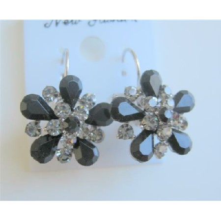 Black Diamond Crystals Sparkling Jet Crystals Enamel Dress Earrings