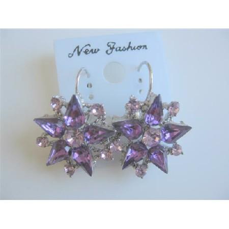 Crystals Earrings Amethyst Light Dark Crystals Flower Earrings
