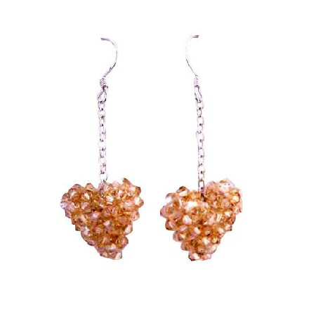 Golden Shadow Puffy Heart Swarovski Crystal Sterling 92.5 Earrings