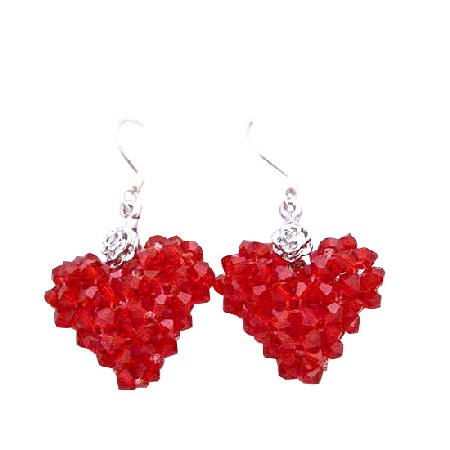 Lite Siam Red Crystal Puffy Heart Passion Silver 92.5 Earrings